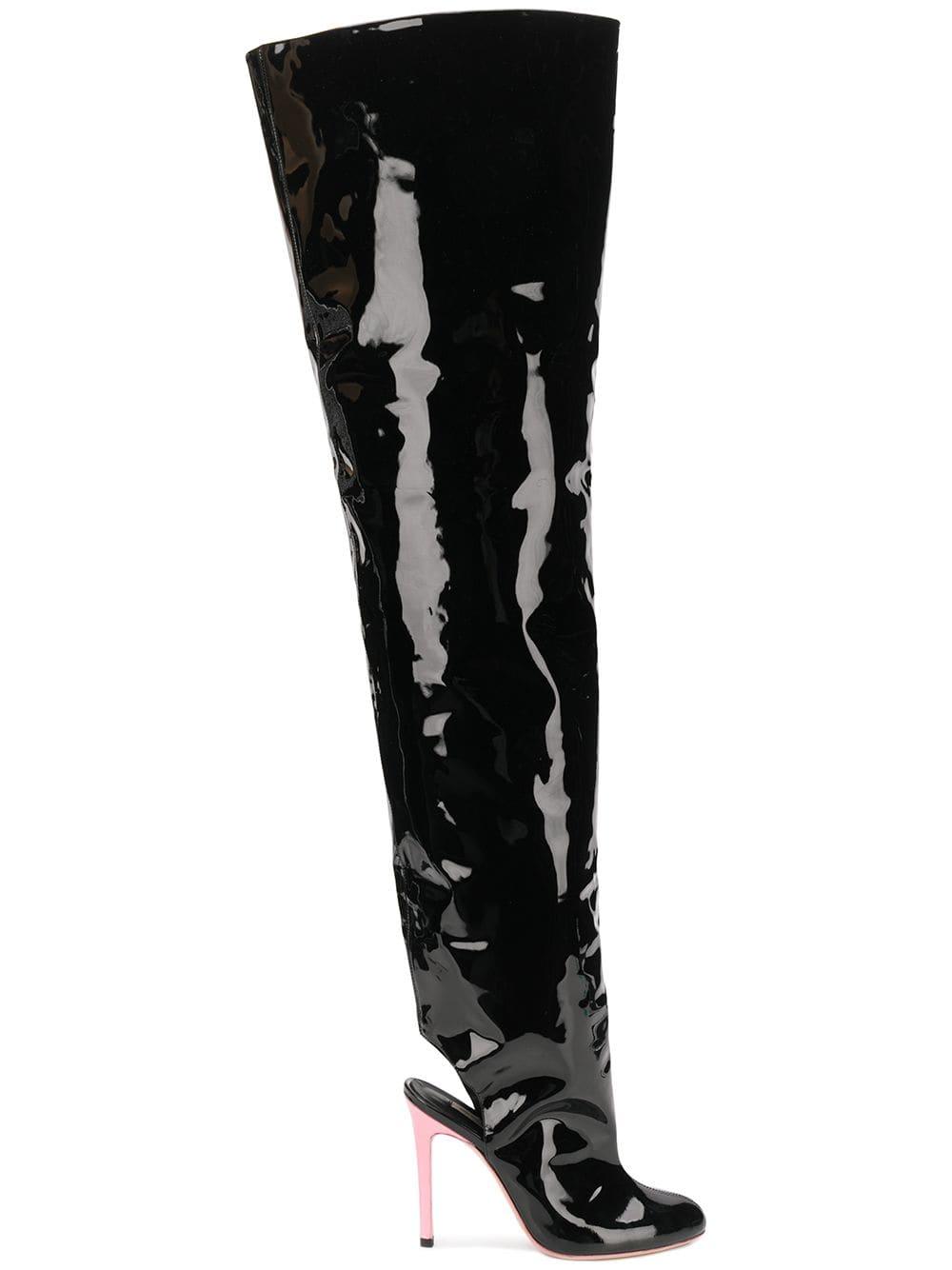 Natasha Zinko Overknee-Stiefel mit offener Ferse - Schwarz