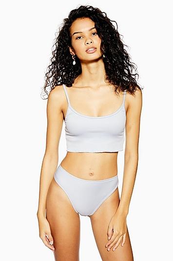 Pale Blue Bikini Crop Top - Denim