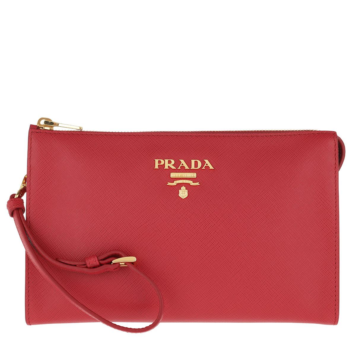 Prada Clutch - Logo Clutch Saffiano Leather Fuoco - in rot - für Damen