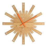 Raggiante Wanduhr / Bambus - Ø 48 cm - Alessi - Orange,Holz natur