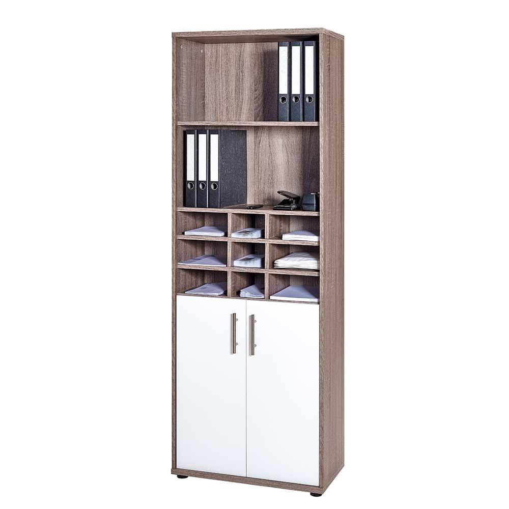 Regal Schrank für Büro Weiß Eiche Trüffel