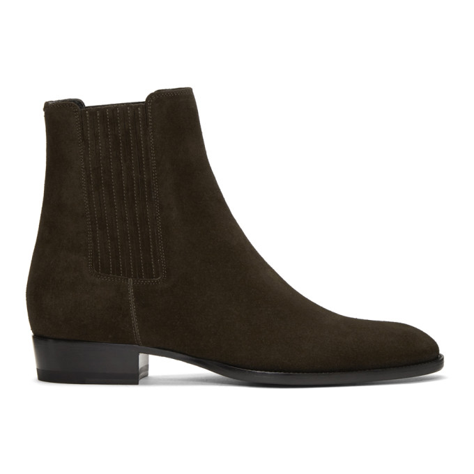 Saint Laurent Green Suede Wyatt Chelsea Boots