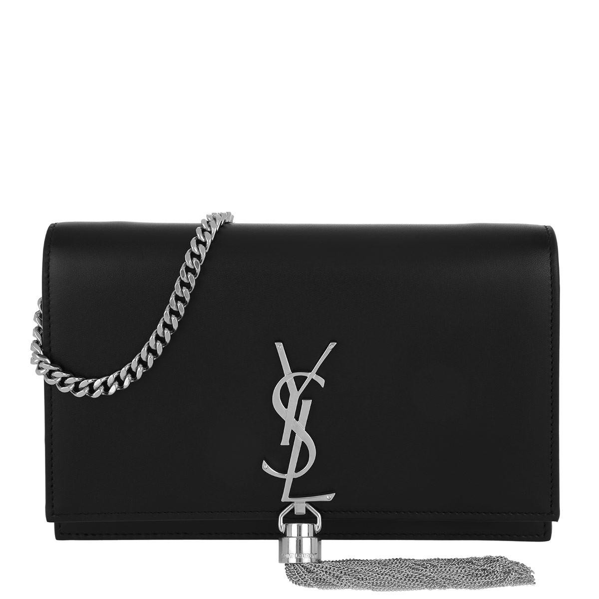 Saint Laurent Umhängetasche - Kate Chain Tassel Wallet Leather Black/Silver - in schwarz - für Damen