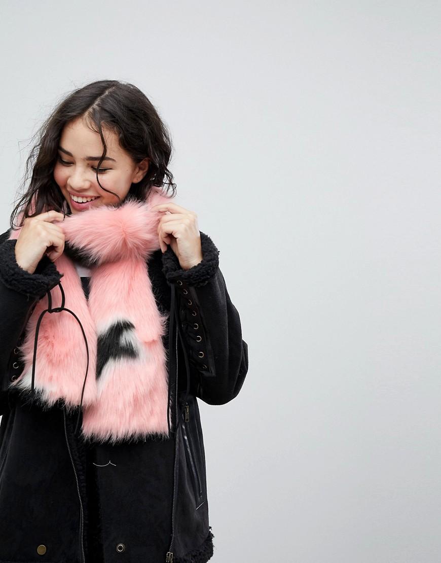 Skinnydip - Rosafarbener Oversize-Schal aus Kunstpelz mit Sternenmuster - Rosa