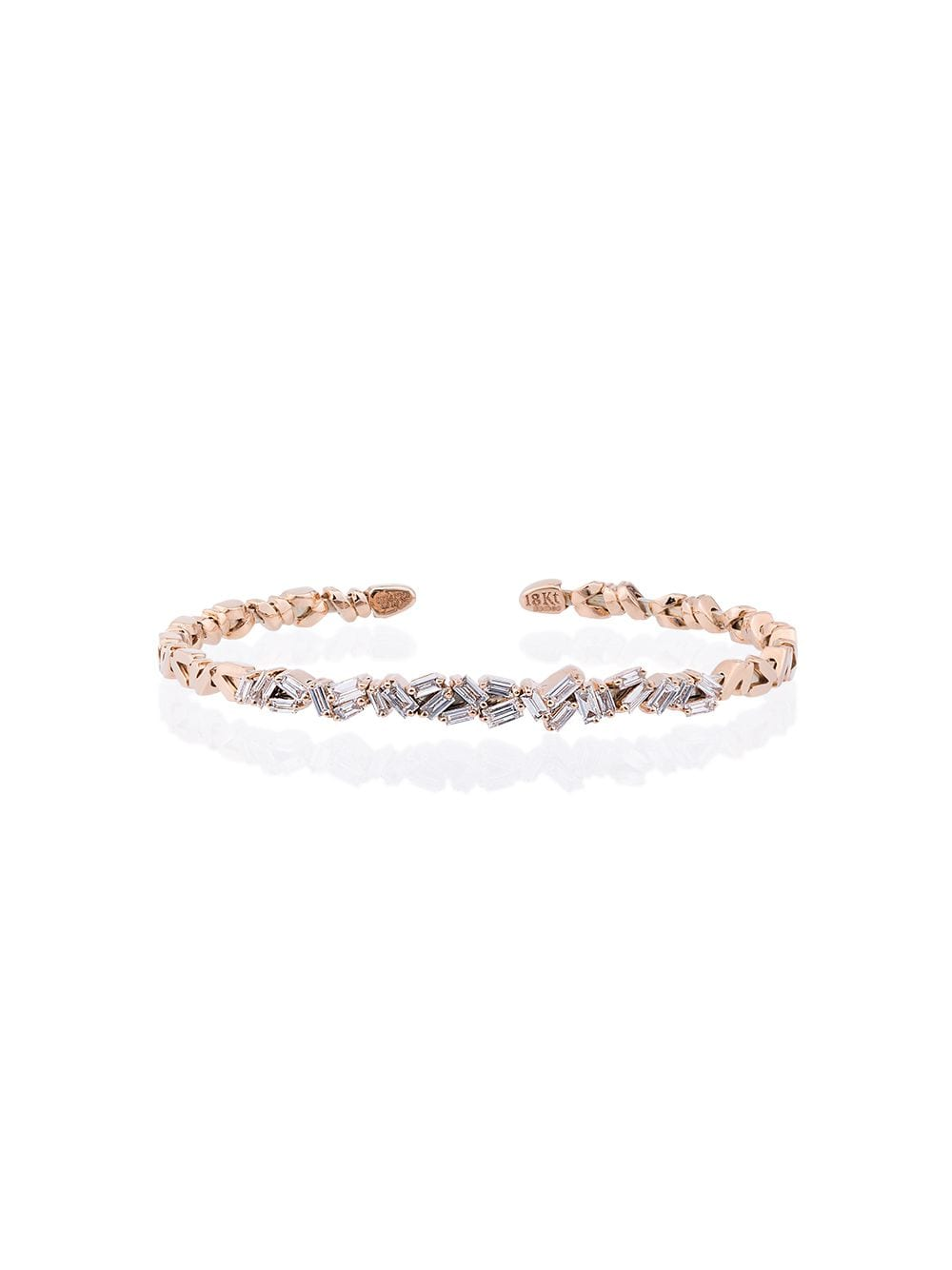 Suzanne Kalan 18K Rose Gold and diamond Fireworks ZigZag Baguette Bangle - Rosa