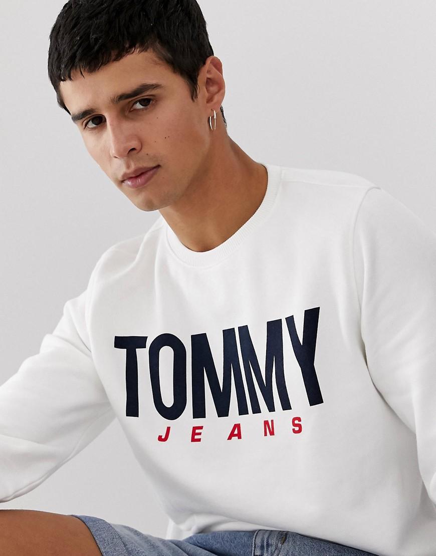 Tommy Jeans - Essential - Weißes Sweatshirt aus aufgerautem Fleece mit Logo - Weiß