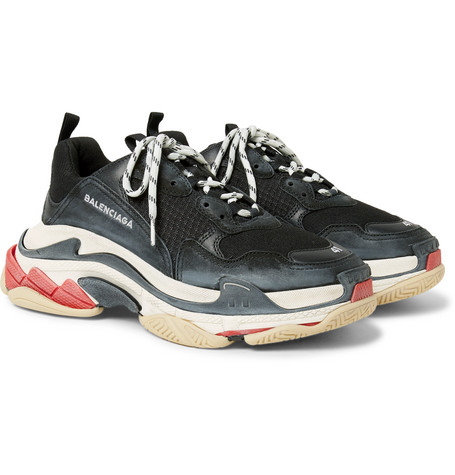 Triple S Mesh, Nubuck And Leather Sneakers - Black