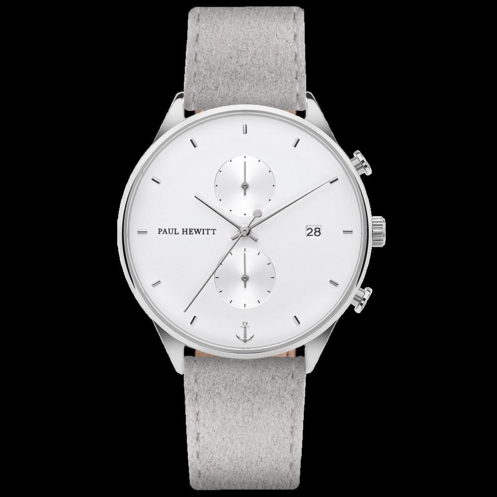 Uhr Chrono Line White Sand Edelstahl Alcantara Grau