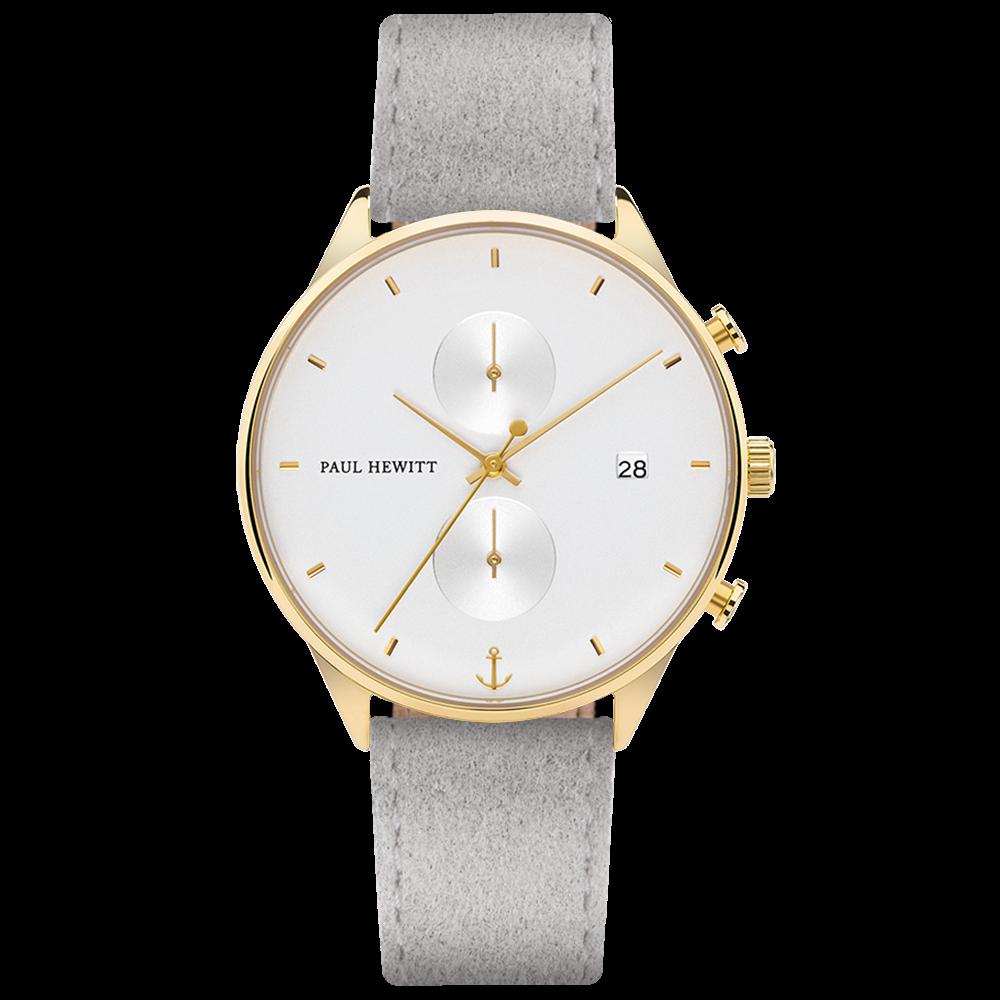 Uhr Chrono Line White Sand IP Gold Alcantara Grau