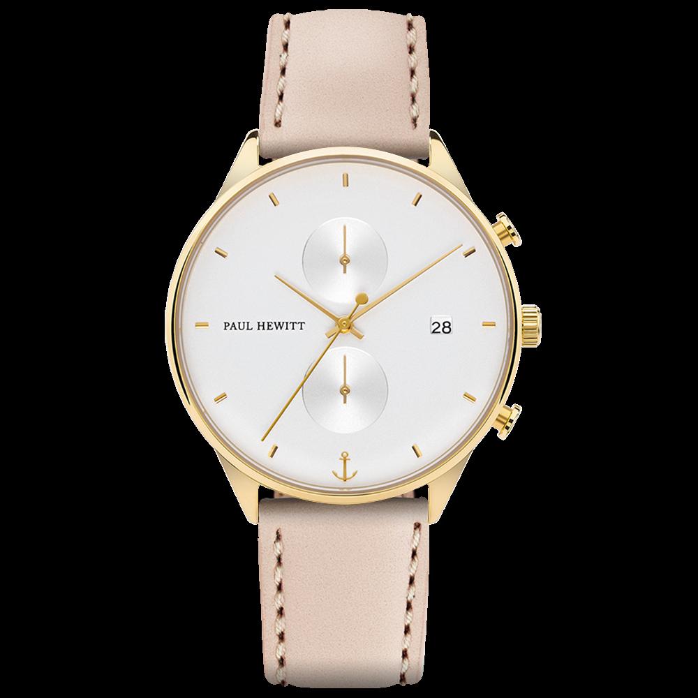Uhr Chrono Line White Sand IP Gold Lederarmband Hazelnut