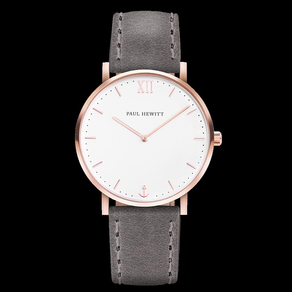 Uhr Sailor Line White Sand IP Roségold Lederarmband Grau