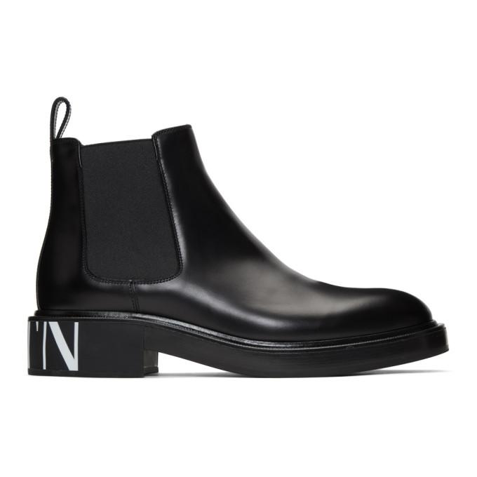 Valentino Black Valentino Garavani VLTN Chelsea Boots