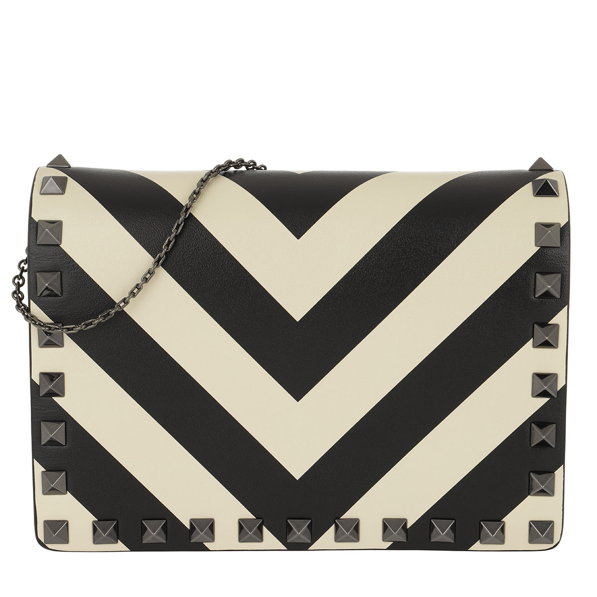 Valentino Umhängetasche - Wallet On Chain Clutch Leather Black/White - in weiß - für Damen