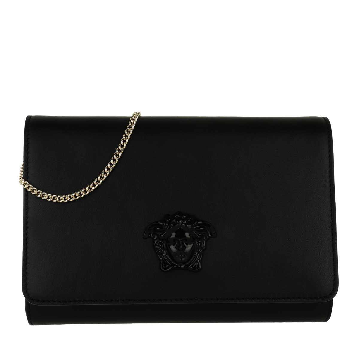 Versace Clutch - Leather Crossbody Bag Nero/Oro Chiaro - in schwarz - für Damen