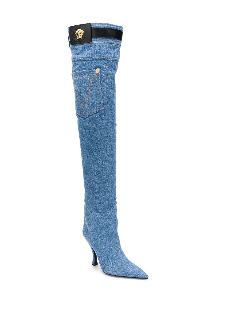 Versace Overknee-Stiefel - Blau