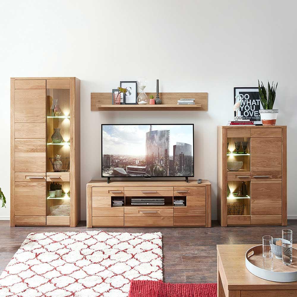 Wohnwand Aus Wildeiche Bianco Modern 4 Teilig Online Kaufen