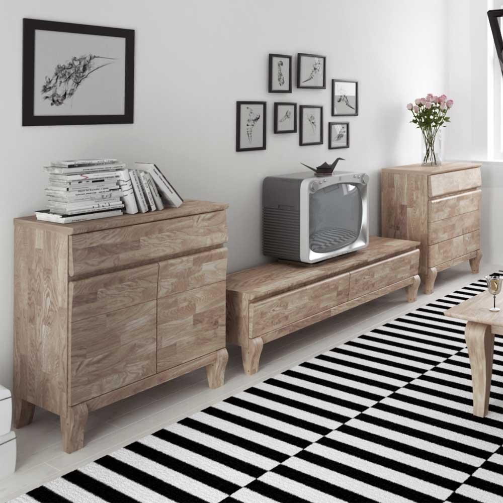 Wohnzimmer Wohnwand aus Eiche Massivholz Weiß geölt (17-teilig)