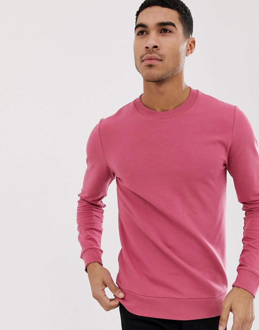 ASOS DESIGN - Muskel-Sweatshirt in Rosa - Rosa