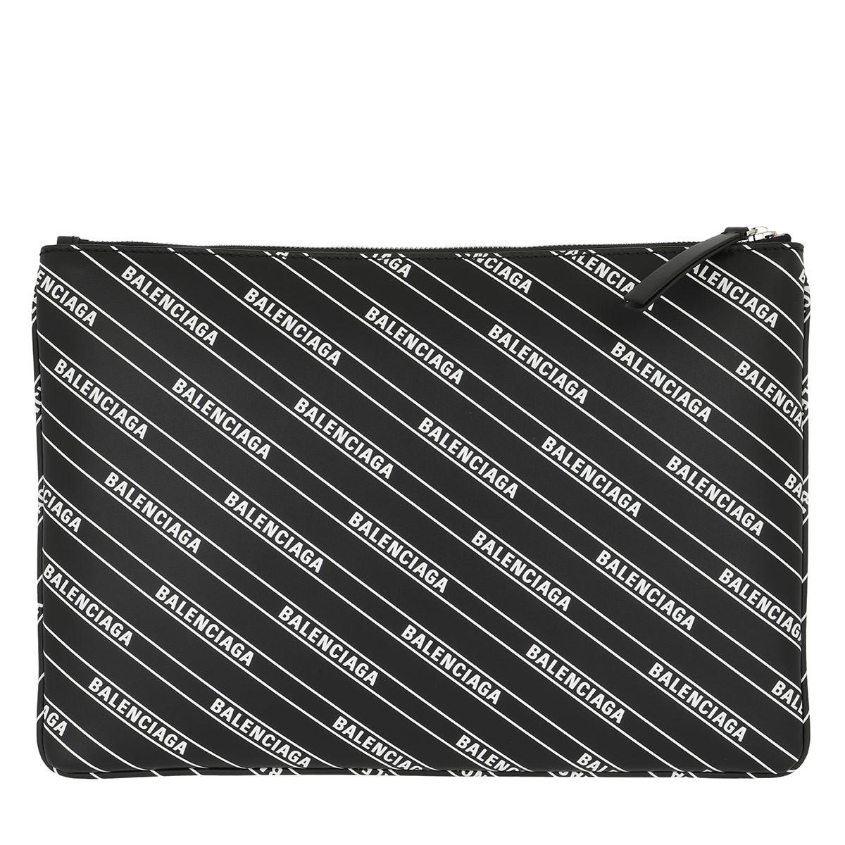 Balenciaga Clutch - Logo Clutch Leather Black/White - in schwarz - für Damen