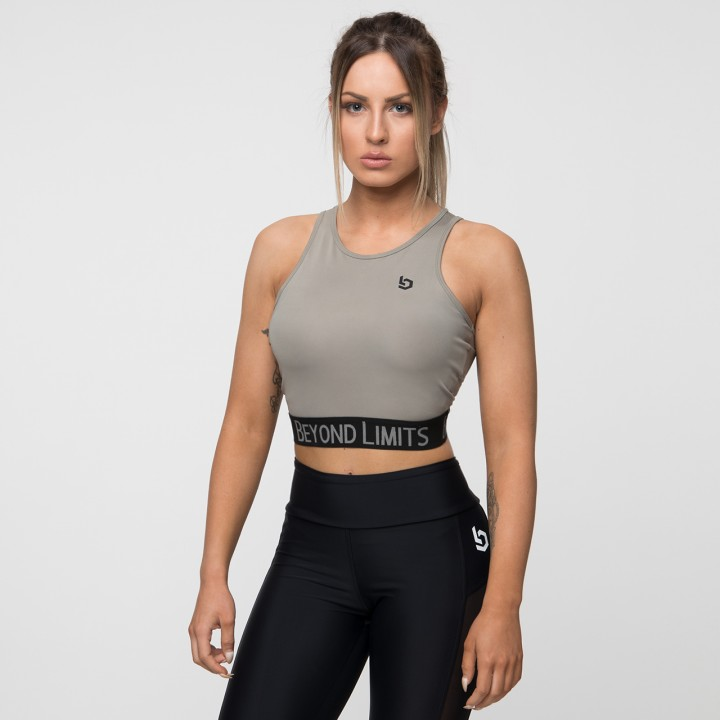 Beyond Limits Addictive Crop Top Khaki-Schwarz
