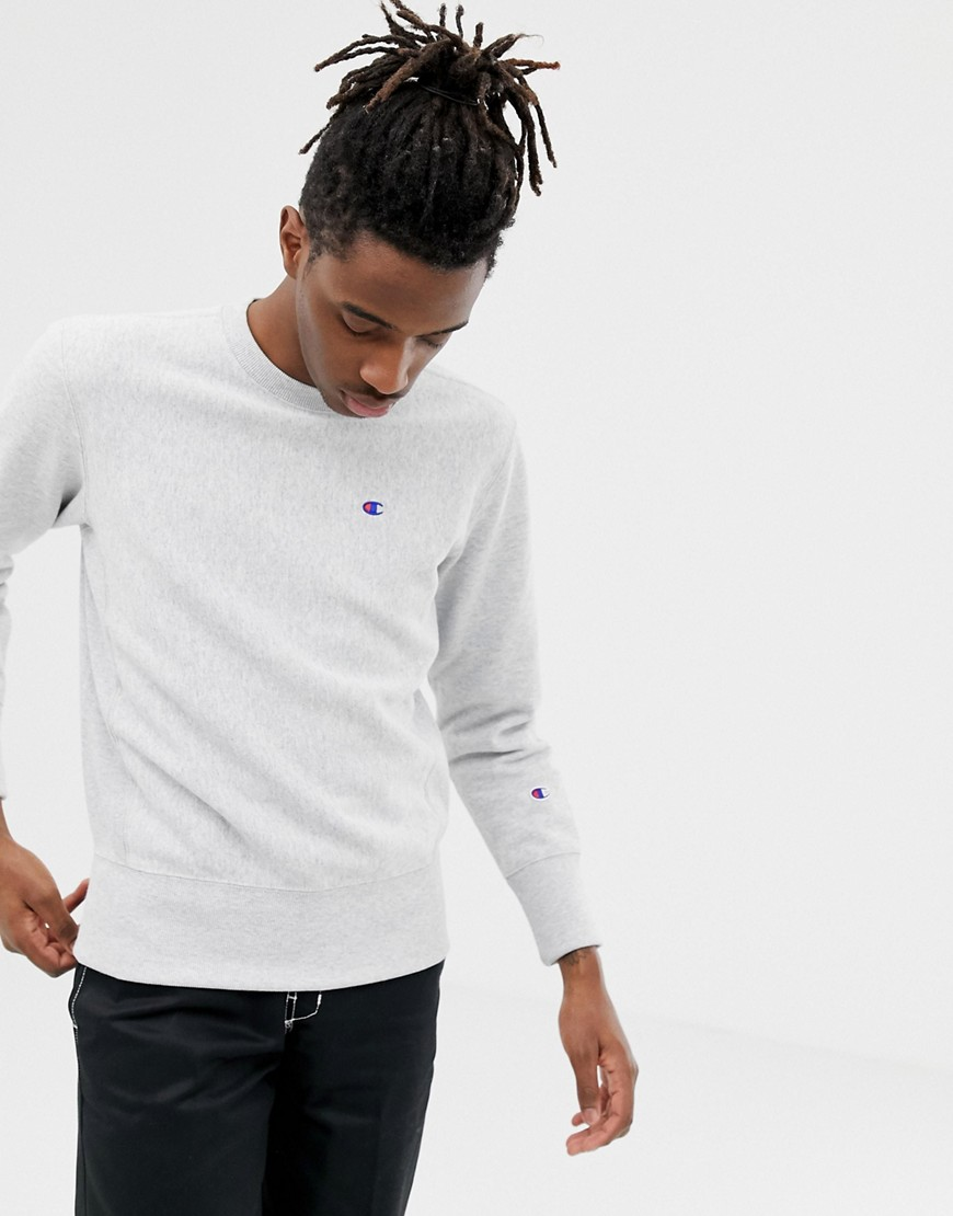 Champion - Graues Sweatshirt mit Reverse-Webmuster und kleinem Logo - Grau