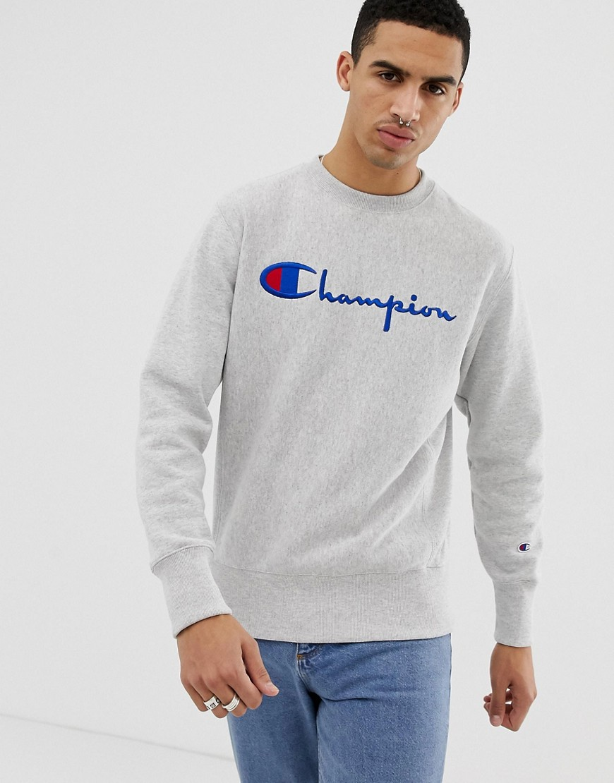Champion - Graues Sweatshirt mit großem Logo - Grau