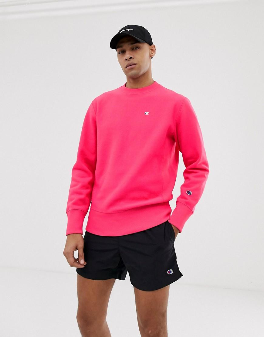 Champion - Sweatshirt in Rosa mit kleinem Logo - Rosa