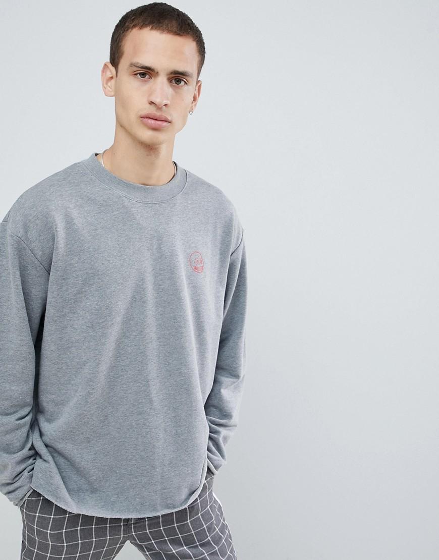 Cheap Monday - Victory Now - Sweatshirt mit kleinem Totenkopf - Grau
