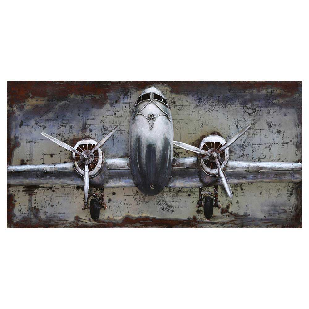 Deko Metallbild mit Flugzeug Motiv 120 cm breit