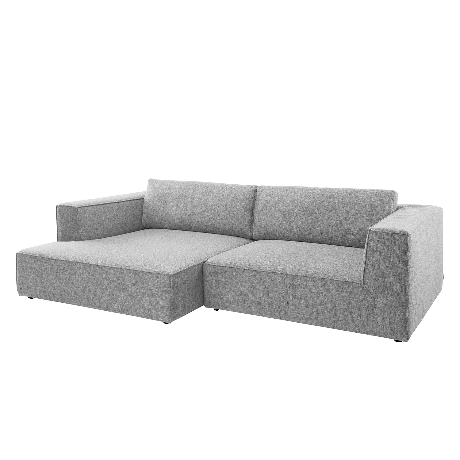 Ecksofa Big Cube Style Webstoff - Longchair davorstehend links - Stoff TBO29 moody grey, Tom Tailor