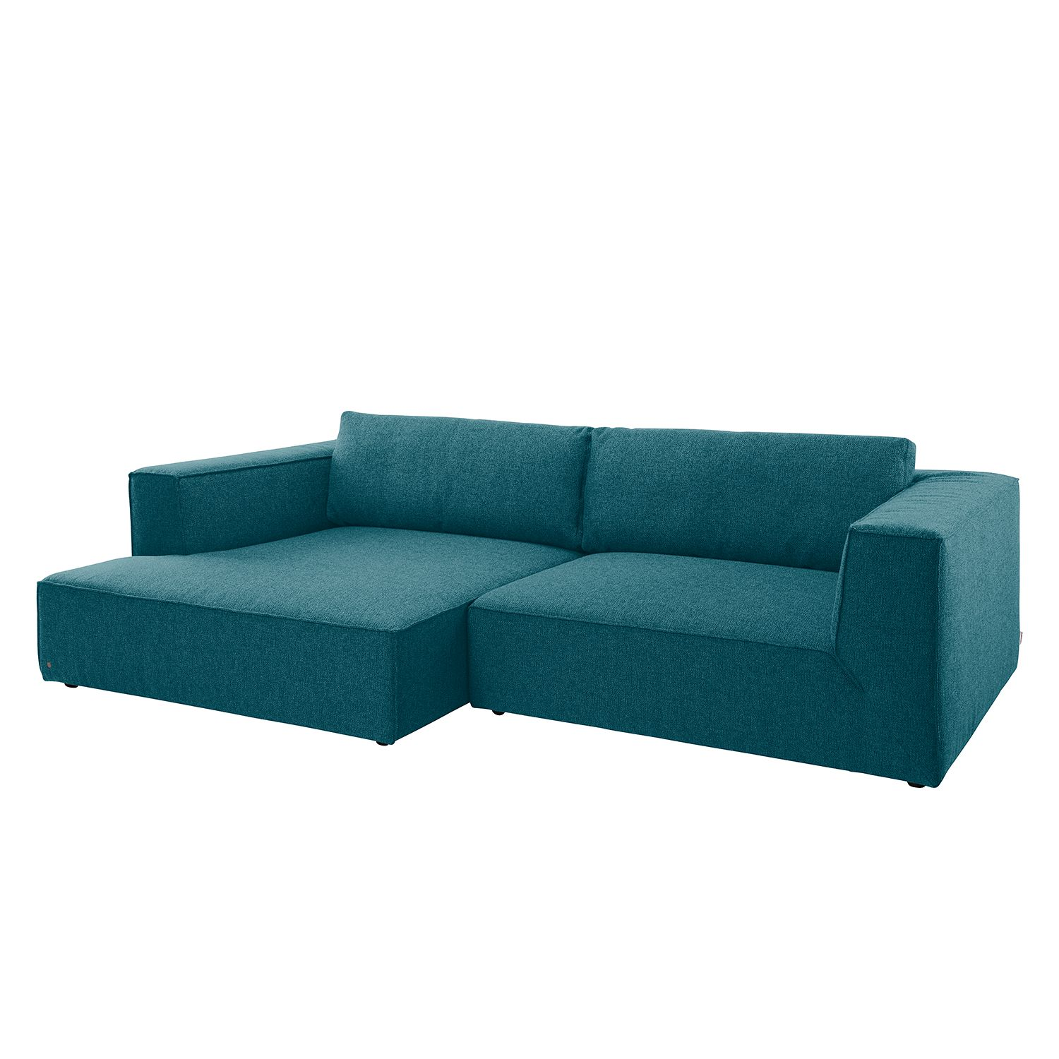 Ecksofa Big Cube Style Webstoff - Longchair davorstehend links - Stoff TBO3 petrol green, Tom Tailor