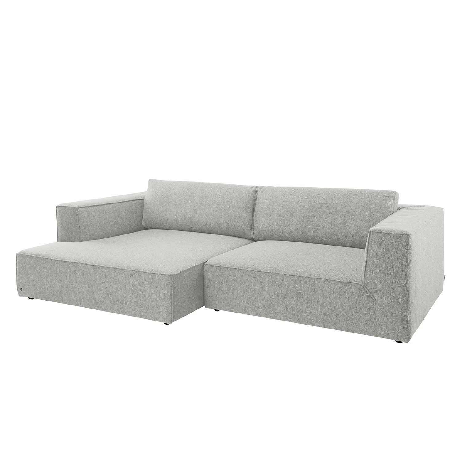 Ecksofa Big Cube Style Webstoff - Longchair davorstehend links - Stoff TBO39 powder grey, Tom Tailor