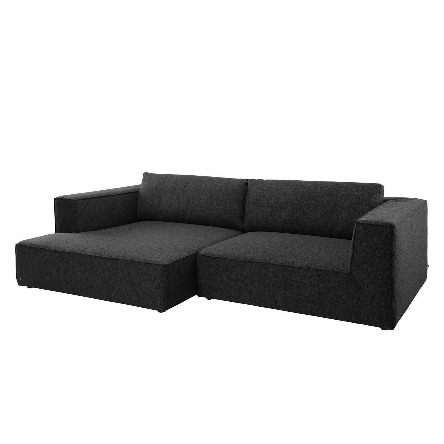 Ecksofa Big Cube Style Webstoff - Longchair davorstehend links - Stoff TBO9 anthrazite, Tom Tailor