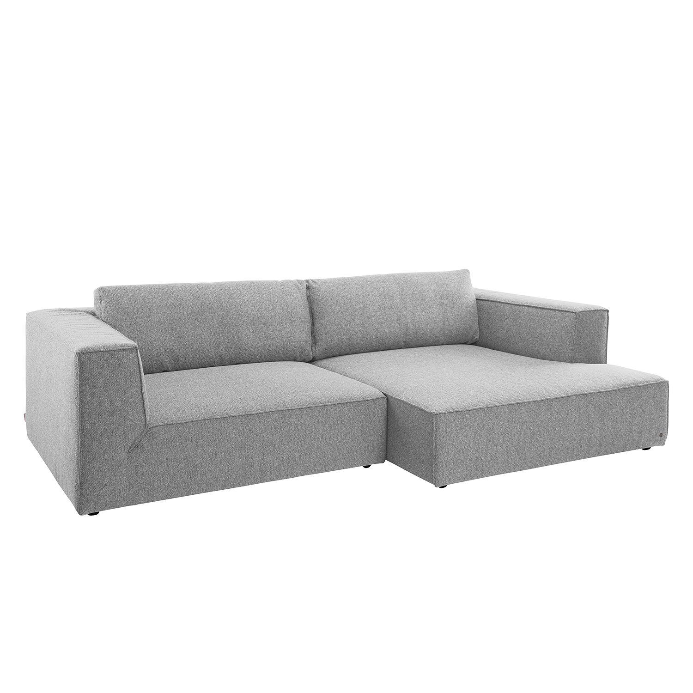Ecksofa Big Cube Style Webstoff - Longchair davorstehend rechts - Stoff TBO29 moody grey, Tom Tailor