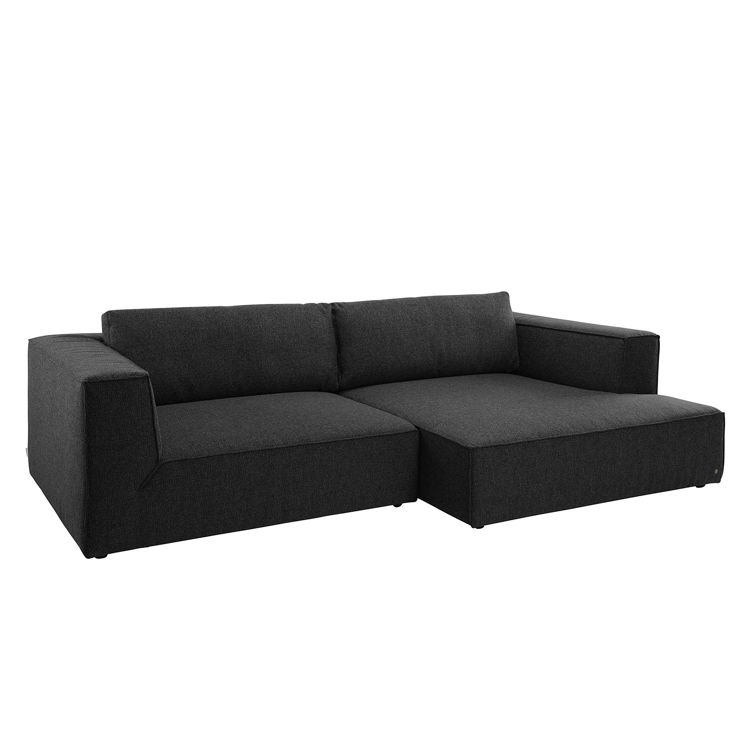 Ecksofa Big Cube Style Webstoff - Longchair davorstehend rechts - Stoff TBO9 anthrazite, Tom Tailor