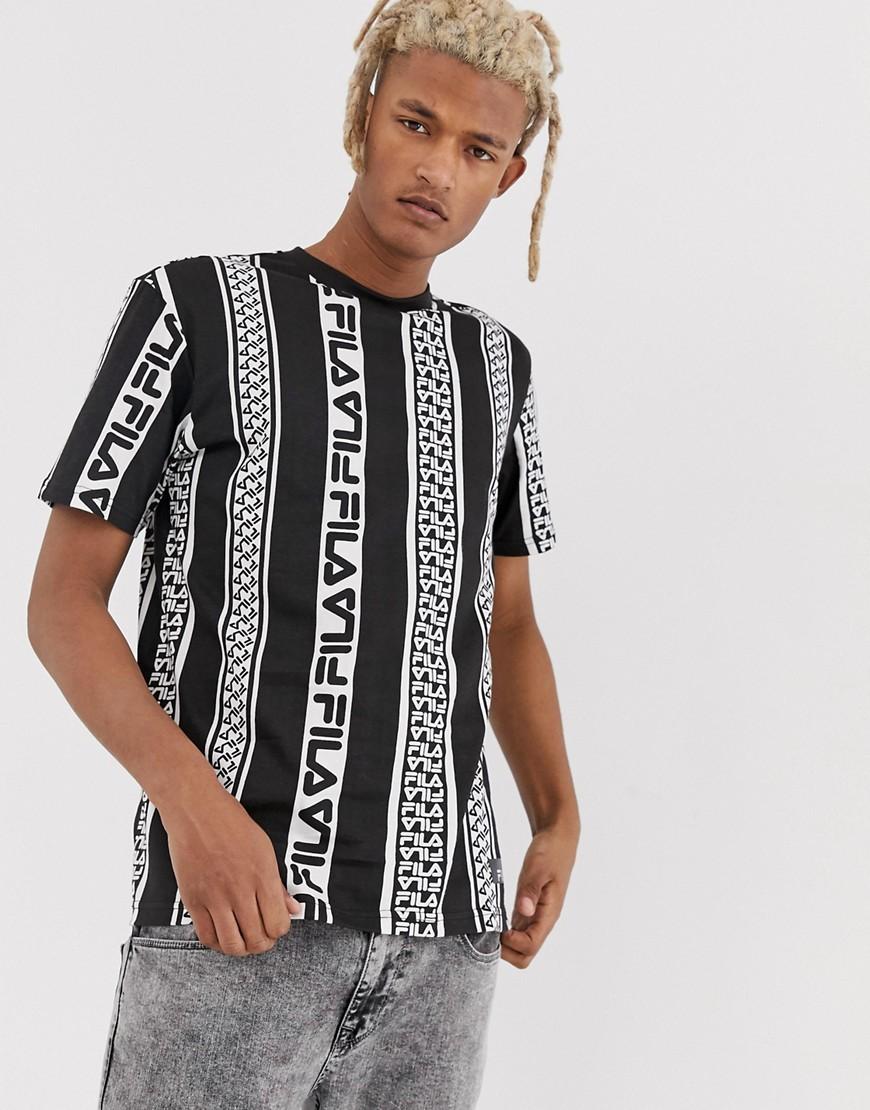 Fila - Coad - Schwarzes T-Shirt mit Logostreifen - Schwarz