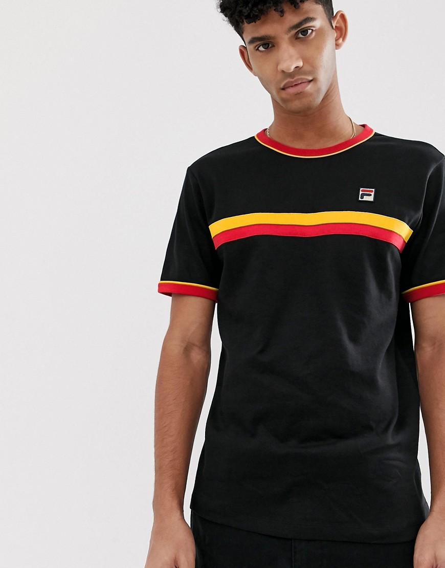 Fila - Razee - Schwarzes Ringer-T-Shirt mit Streifen - Schwarz