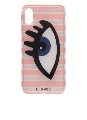 Iphoria Iphone-Hülle Stripes Rose/ Transparent Eye Bluefür Iphone X/Xs rosa