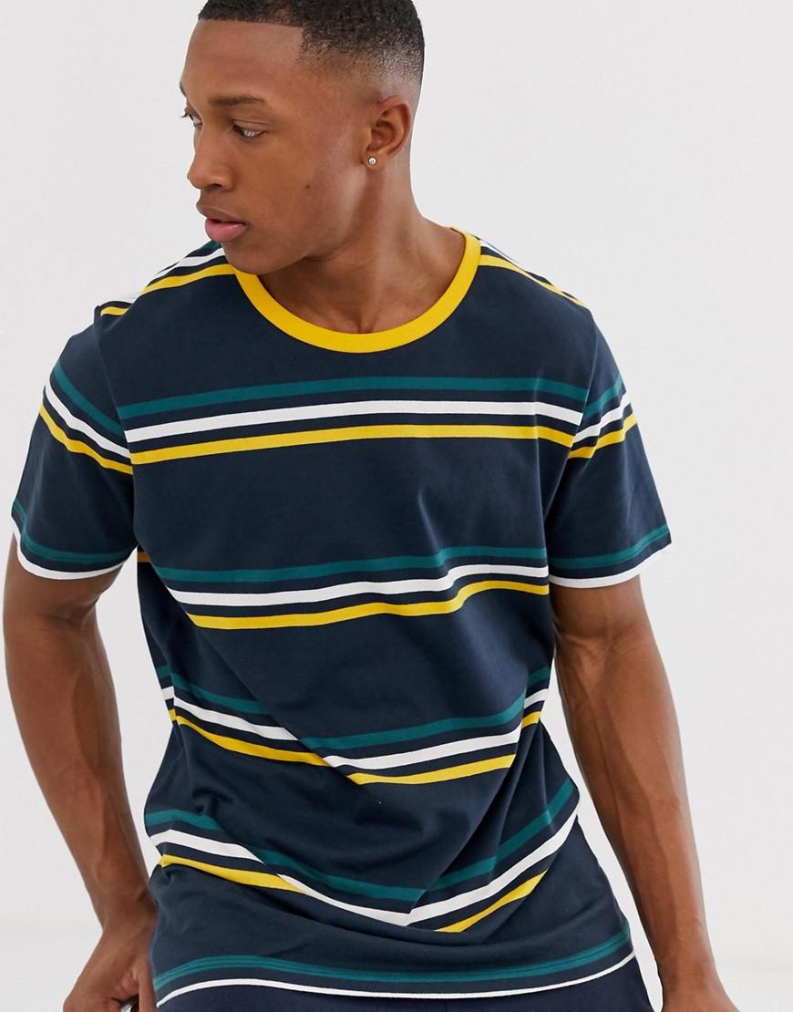 Jack & Jones Originals - Marineblaues T-Shirt mit tiefer Schulterpartie und Querstreifen - Navy