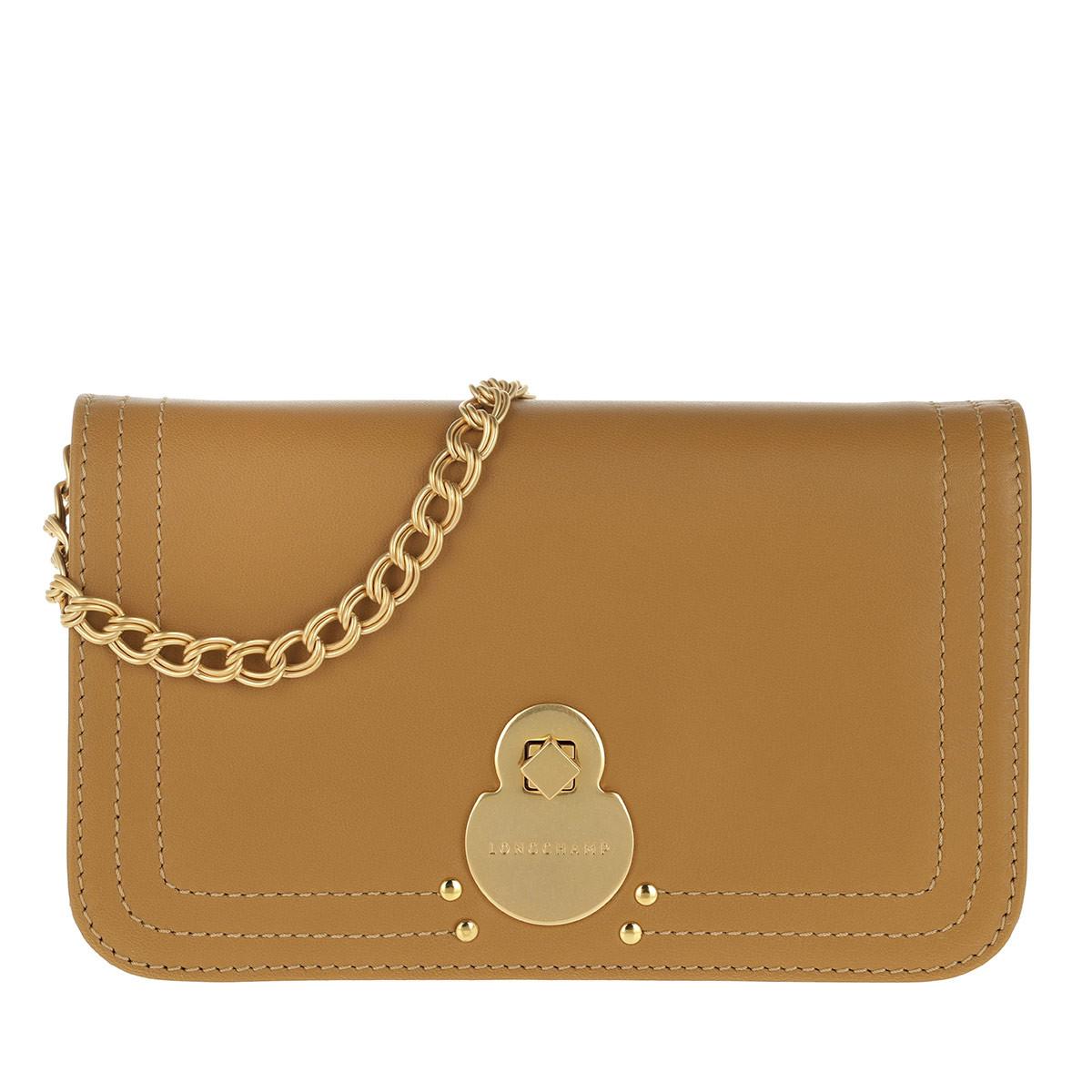 Longchamp Umhängetasche - Cavalcade Wallet On Chain Leather Natural - in braun - für Damen