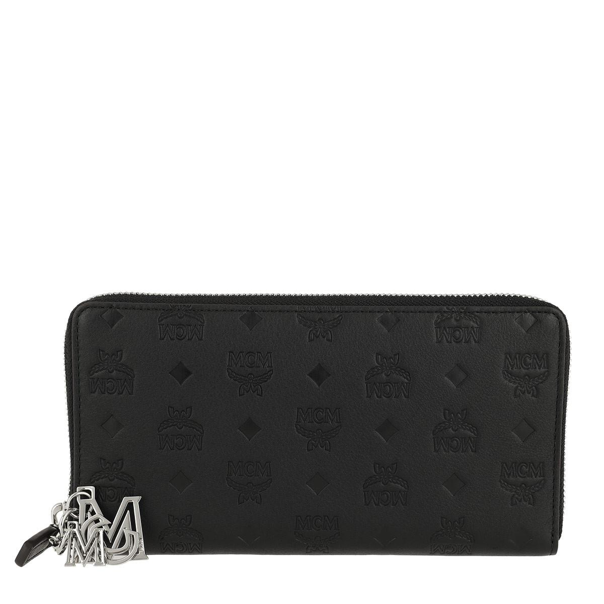 MCM Portemonnaie - Klara Monogrammed Leather Wallet Large Black - in schwarz - für Damen