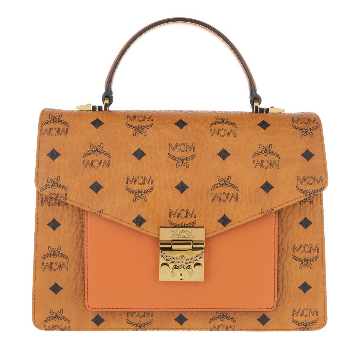 MCM Satchel Bag - Patricia Visetos Satchel Medium Cognac - in cognac - für Damen