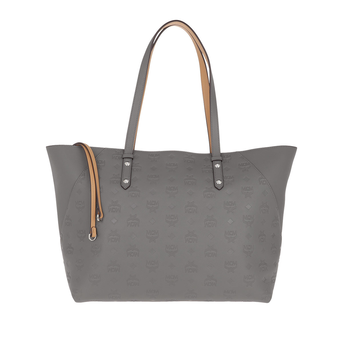 MCM Shopper - Klara Monogrammed Leather Shopper Medium Charcoal - in grau - für Damen