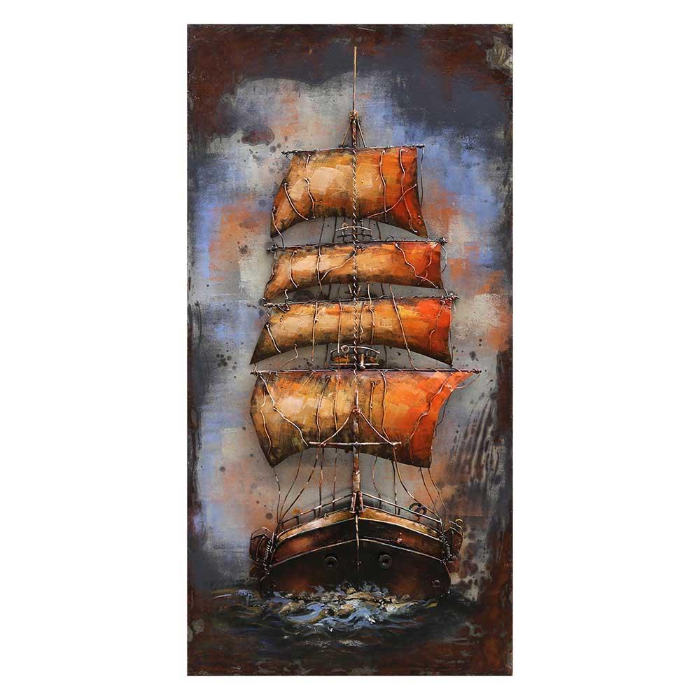 Metallbild mit Segelschiff Motiv 70 cm breit