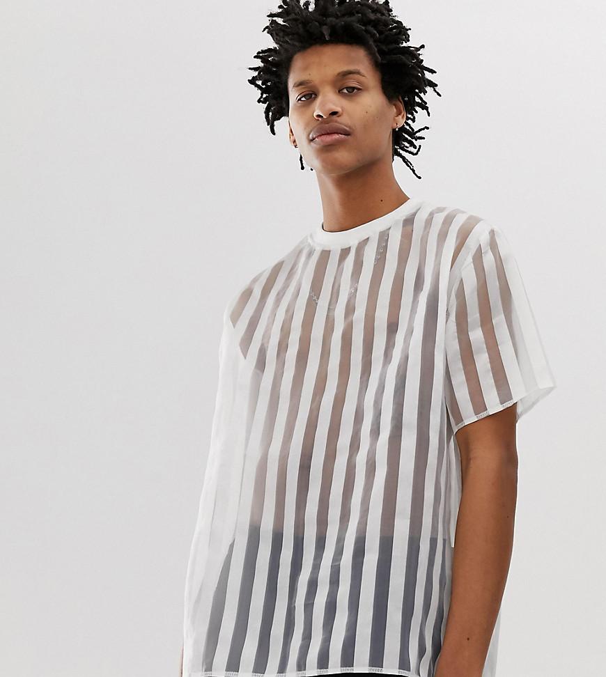 Milk It - Transparent gestreiftes Oversize-T-Shirt im Vintage-Stil - Weiß