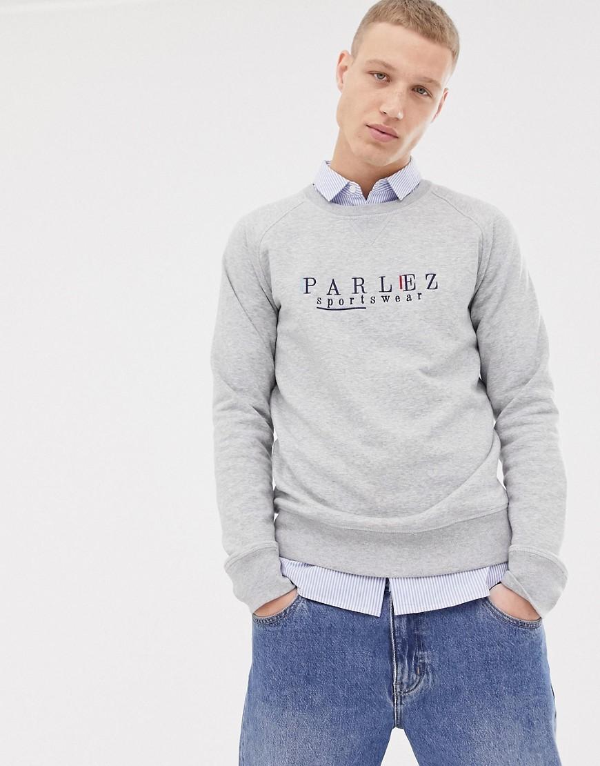 Parlez - Graues Sweatshirt mit aufgesticktem Sport-Logo auf der Brust - Grau