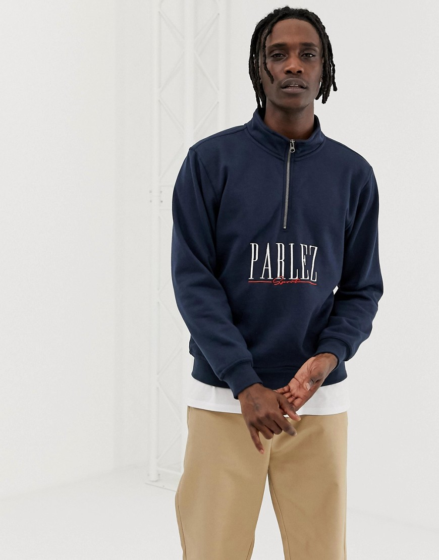 Parlez - Johnson - Sweatshirt mit 1/4-Reißverschluss und sportlichem Logo-Schriftzug bestickt in Marine - Grau