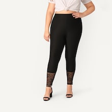Plus Lace Hem Fitted Leggings