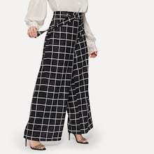 Plus Windowpane Check Belted Wide Leg Pants