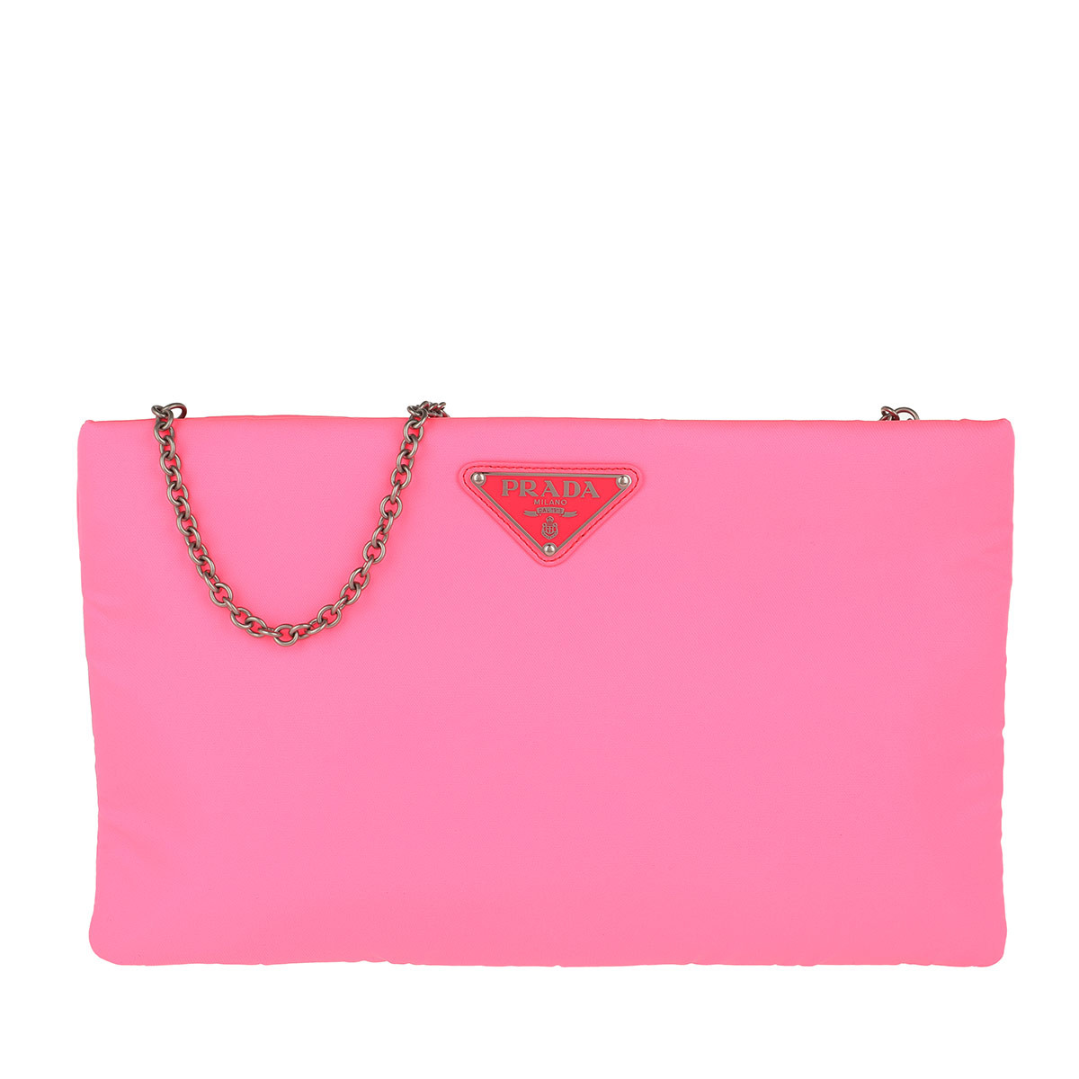 Prada Clutch - Padded Nylon Clutch Medium Neon Pink - in pink - für Damen